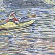 Kayak In The Rapids Print by Horacio Prada