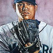 King Felix Hernandez Print by Michael  Pattison