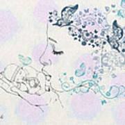 Kiss To A New Born Print by Barbara Orenya