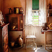 Kitchen - A Cottage Kitchen  Print by Mike Savad