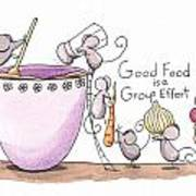 Kitchen Art Cooking Mice Print by Christy Beckwith
