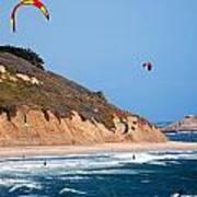 Kite Surfers Print by Bob Wall