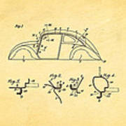 Komenda Vw Beetle Body Design Patent Art 1942 Print by Ian Monk