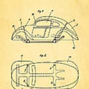 Komenda Vw Beetle Official German Design Patent Art Print by Ian Monk