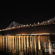 L E D Lights On The Bay Bridge Print by David Bearden