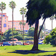La Valencia Hotel And Cypress Print by Mary Helmreich