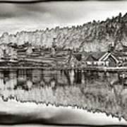 Lake House Reflection Print by Ron White