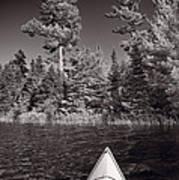 Lake Kayaking Bw Print by Steve Gadomski
