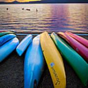 Lake Quinault Kayaks Print by Inge Johnsson