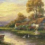 Lakeside Cottage Print by Ghambaro