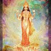 Lakshmi Floating In A Galaxy Print by Ananda Vdovic