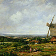 Landscape With Figures By A Windmill Print by Frederick Waters Watts