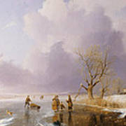 Landscape With Frozen Canal Print by Remigius van Haanen