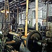 Large Lathe In Machine Shop Print by Susan Savad