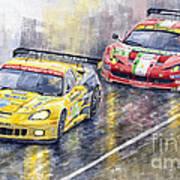 Le Mans 2011 Gte Pro Chevrolette Corvette C6r Vs Ferrari 458 Italia Print by Yuriy  Shevchuk