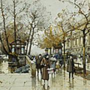 Le Quai De Louvre Paris Print by Eugene Galien-Laloue