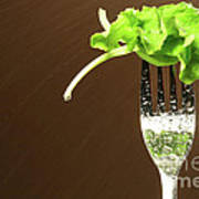 Leaf Of Lettuce On A Fork Print by Sandra Cunningham