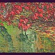 Leaves On The Creek 3 With Small Border 3 Print by L Brown