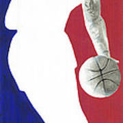 Lebron Nba Logo Print by Tamir Barkan