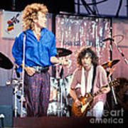 Led Zeppelin Page And Plant Live Aid 1985 Print by Chuck Spang