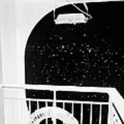 lifebelt on board the hurtigruten ship ms midnatsol at night in winter in Tromso troms Norway europe Print by Joe Fox