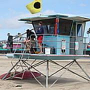 Lifeguard Shack At The Santa Cruz Beach Boardwalk California 5d23712 Print by Wingsdomain Art and Photography