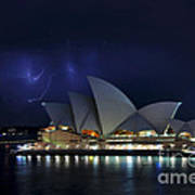 Lightning Behind The Opera House Print by Kaye Menner