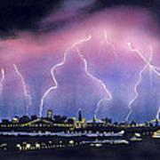 Lightning On The Bay Bridge Print by Janaka Ruiz
