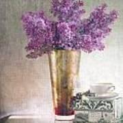 Lilacs In Vase 2 Print by Rebecca Cozart