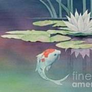 Lily And Koi Print by Robert Hooper