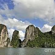 Limestone Karst Peaks Islands In Ha Long Bay Print by Sami Sarkis