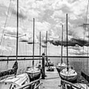 Lined Up At The Dock Print by Kathy Liebrum Bailey