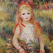 Little Girl Carrying Flowers Print by Pierre Auguste Renoir