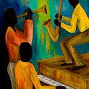 Little Jazz Trio I Print by Larry Martin