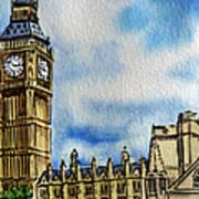 London England Big Ben Print by Irina Sztukowski