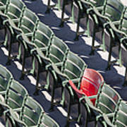 Lone Red Number 21 Fenway Park Print by Susan Candelario