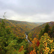 Looking Downstream At Blackwater River Gorge In Fall Print by Dan Friend