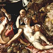 Lot And His Daughters Print by Joachim Antonisz Wtewael