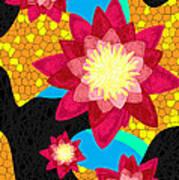 Lotus Flower Bombs In Magenta Print by Kenal Louis