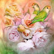 Love Among The Roses Print by Carol Cavalaris