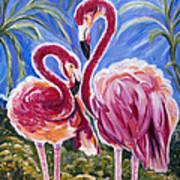 Love Flamingos  Print by Yelena Rubin