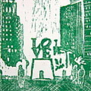 Love Park In Green Print by Marita McVeigh