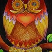 Loving Owl Print by Lou Cicardo