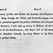 Loyalist Oath, 1779 Print by Granger