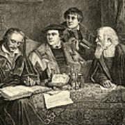 Luther Melancthon Pomeranus And Cruciger Translating  Print by English School