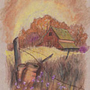 Macgregors Barn Pstl Print by Carol Wisniewski