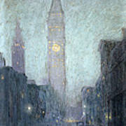 Madison Avenue At Twilight Print by Lowell Birge Harrison