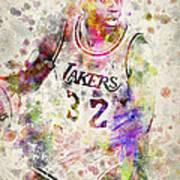 Magic Johnson Print by Aged Pixel