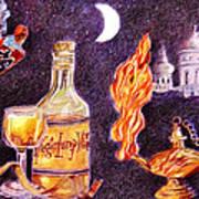 Magic Lamp Wine Print by Candace  Hardy