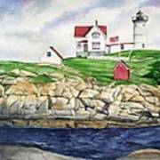 Maine Lighthouse Watercolor Print by Michelle Wiarda